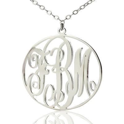 Personalisierte 18ct weißes Gold überzogen Rebe Schrift Kreis Initialen Monogramm Halskette