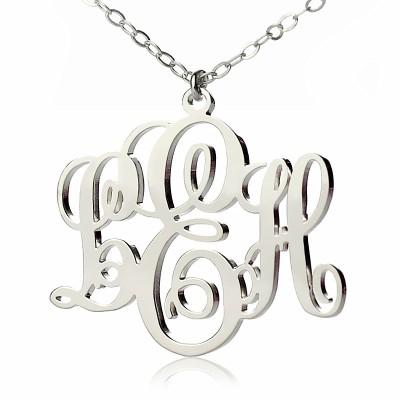 Personalisierte Rebe Font Initialen Monogramm Halskette 18ct weißes Gold überzogen