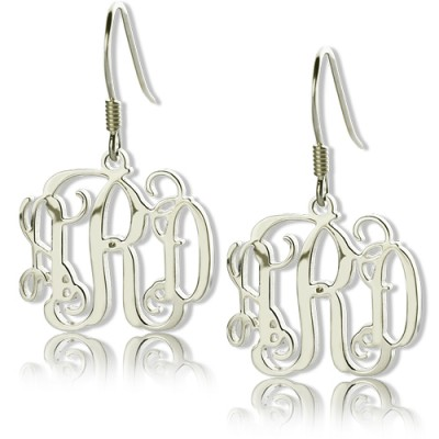 Personalisierte Sterling Silber Monogramm Ohrringe