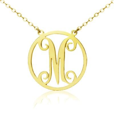 Solid Gold 18ct Einzel Initial Kreis Monogramm Halskette