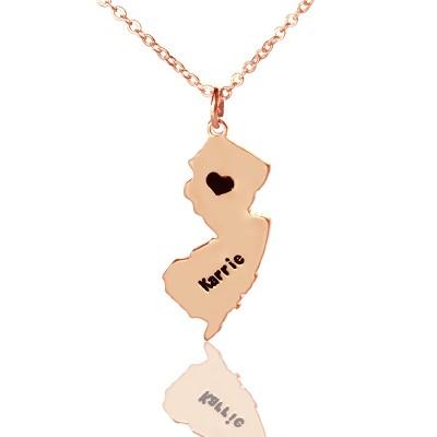 Benutzerdefinierte New Jersey State geformte Halskette mit Herz Namen Rose Gold