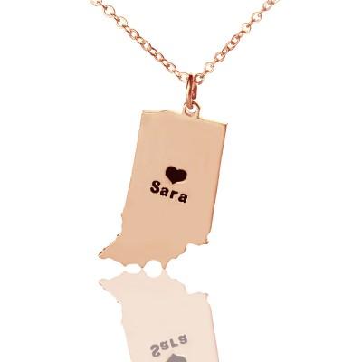 Benutzerdefinierte Indiana State Shaped Halsketten mit Herz Namen Rose Gold