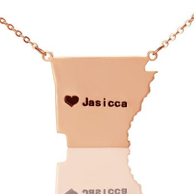 Benutzerdefinierte AR State USA Karte Halskette mit Herz Namen Rose Gold