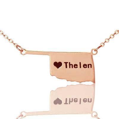 Amerika Oklahoma State USA Karte Halskette mit Herz Namen Rose Gold