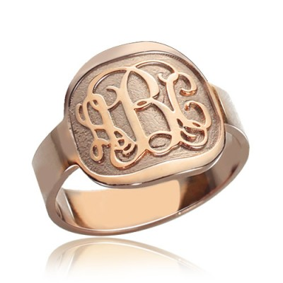 Gravierte Runde Monogramm Ring Rose Gold