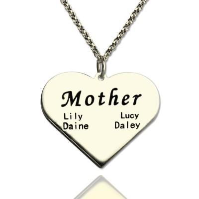 """""""Mutter"""" Familie Herz Halskette aus Sterling Silber"""