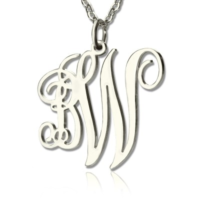 Personalisierte Rebe Schriftart 2 Initialen Monogramm Halskette 18ct Fest White Gold