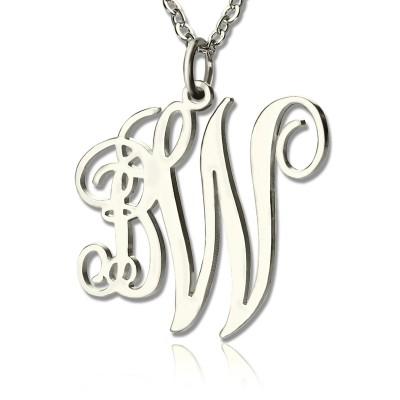 Personalisierte 2 Initialen Monogramm Halskette Sterlingsilber