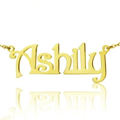 Solid Gold Harrington Font Name Halskette 18 karätigem Gold überzogen