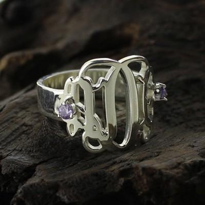 Birthstone Monogramm Ringe für Frauen Sterlingsilber