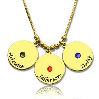 Die Mutter Disc und birthstone Charme Halskette 18 karätigem Gold überzogen