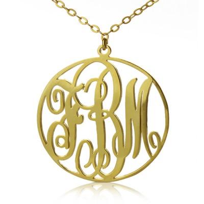 Solid Gold Vine Schrift Kreis Initialen Monogramm Halskette 18ct