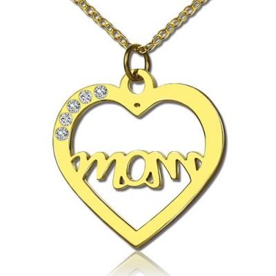 Mütter Herz Halskette mit 18 Karat Gold überzogen Geburtsstein