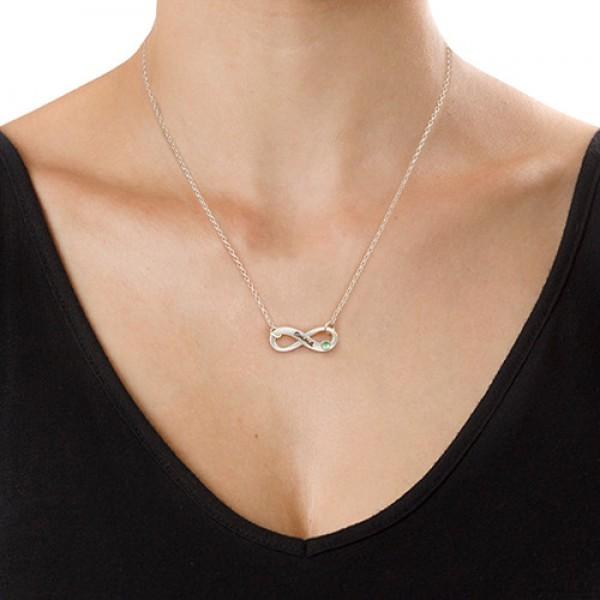 Silber mit eingraviertem Swarovski Unendlichkeit Halskette