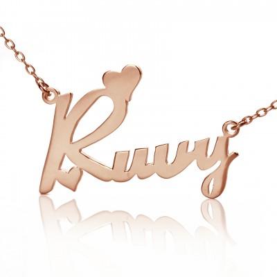 Personalisierte 18ct Rose Gold überzogen Fiolex Girls Schriftart Herz Namen Halskette