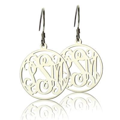 Kreis Monogrammed Initial Ohrringe Sterling Silber