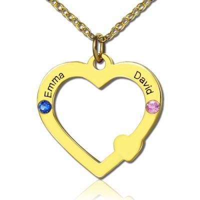 18ct Gold Open Heart Halskette mit Doppelnamen birthstone