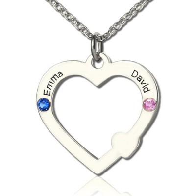 Doppel Namen Open Heart Halskette mit Geburtsstein Sterling Silber