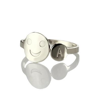 Personalisierte Lächeln Ring mit Initial Sterling Silber