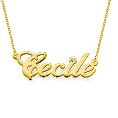 18ct Gold und Diamant Namenskette