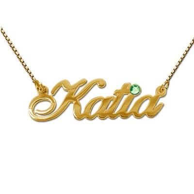18 karätigem Gold und Swarovski Kristall Namensanhänger