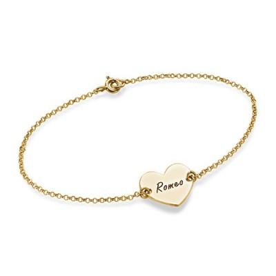 18ct Gold überzogenes Gravierte Paare Herz Armband / Fußkettchen