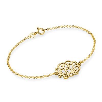 18ct Gold überzogenes Silber Monogramm Armband / Fußkettchen