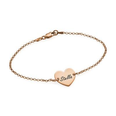 18ct Rose Gold überzogen gravierte Herz Paare Armband / Fußkettchen