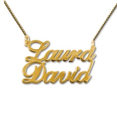 18ct Silber vergoldet zwei Namen Anhänger Halskette
