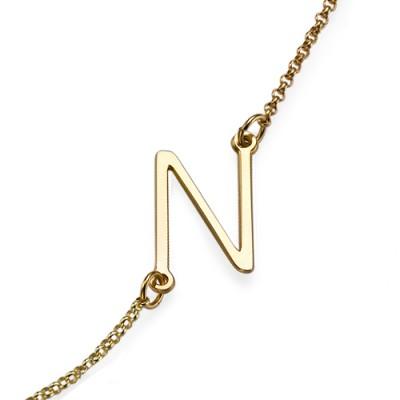 18ct Gold überzogene seitlich Anfängliche Halskette