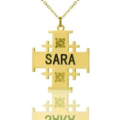 Gold Silber 925 Jerusalem Kreuz Name Halskette