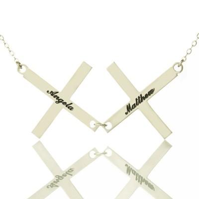 Silber Griechenland Double Cross Namenskette