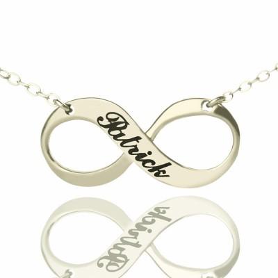 Gravierte Namens Unendlichkeit Halskette aus Sterling Silber