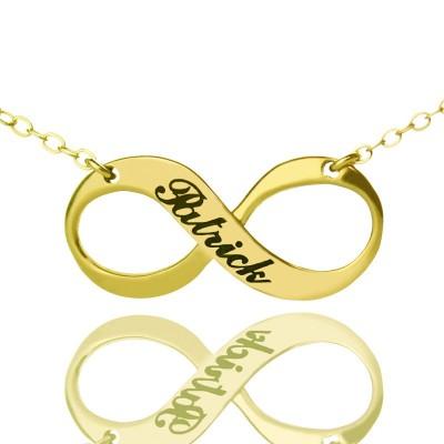 Infinity Symbol Schmuck Halskette Gravierte Name 18 karätigem Gold überzogen