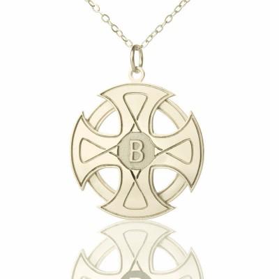 Gravierte Keltisches Kreuz Halskette Silber