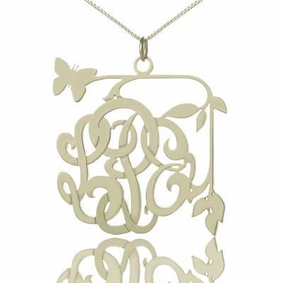Kundenspezifische Schmetterlings Skript Monogramm Halskette aus Sterling Silber