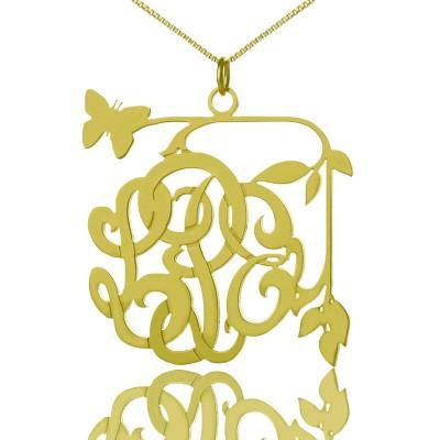 Reben Schmetterlings Monogramm Initialen Halskette 18 karätigem Gold überzogen