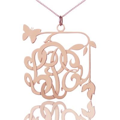 Schmetterling und Reben mit Monogramm Halskette 18ct Rose Gold überzogen
