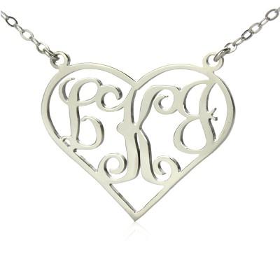 Feste weißes Gold Initialen Monogramm Personalisierte Herz Halskette