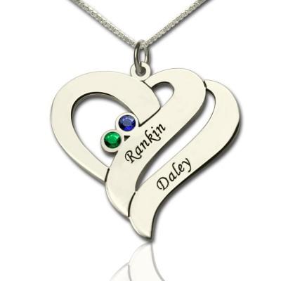 Zwei Herzen für immer eine Halskette aus Sterling Silber
