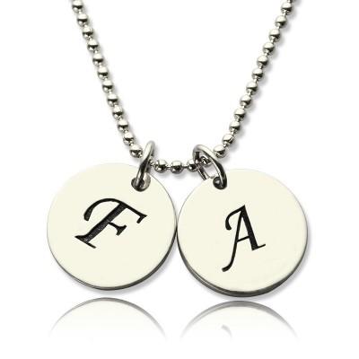 Personalisierte Initial Discs Halskette Silber