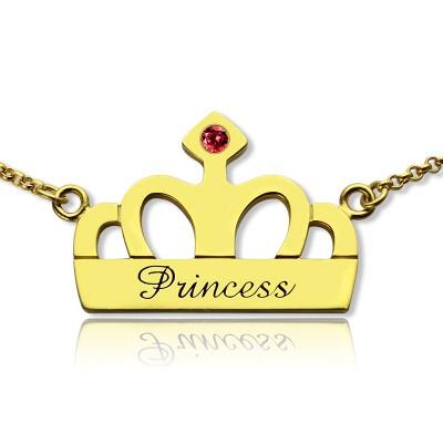 Princess Crown Charme Halskette mit Geburtsstein Namen der 18 karätigem Gold überzogen