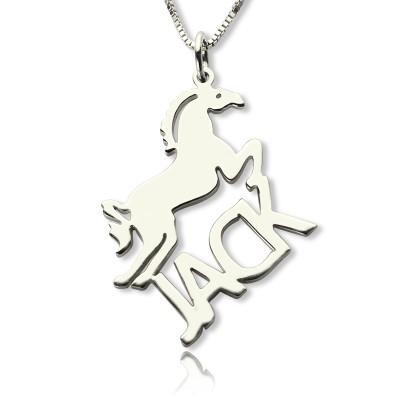 Personalisierte Pferdenamenskette für Kinder Silber