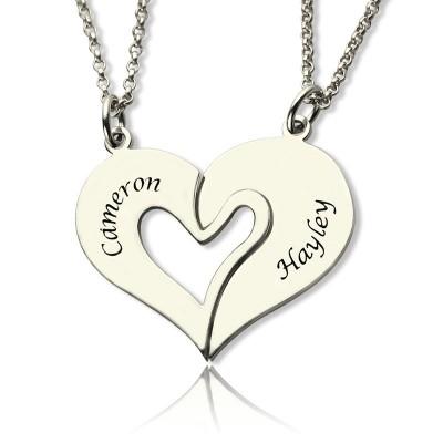 Personalisierte Zerbrechliche Herz Namen Halskette für Paare Silber