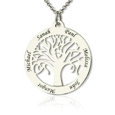 Baum des Lebens Halskette eingravierten Namen in Silber