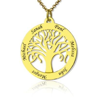 Baum des Lebens Schmuck Familie Namenskette in 18 karätigem Gold überzogen