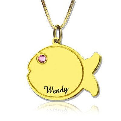 Kinder Fisch Namenskette 18 karätigem Gold überzogen