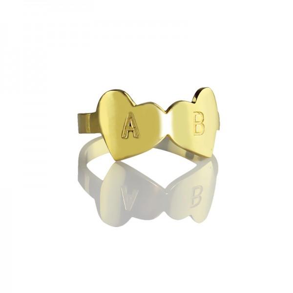 Benutzerdefinierte Doppel Herz Ring mit Gravur Brief 18 karätigem Gold überzogen