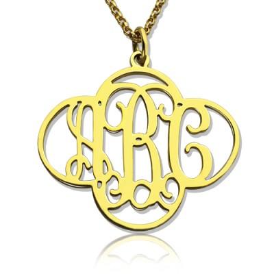 Personalisierte Ausschnitte Klee Monogramm Halskette 18 karätigem Gold überzogen