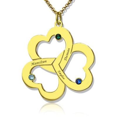 Geburtsstein Triple Herz Halskette mit eingraviertem Namen in 18 karätigem Gold überzogen